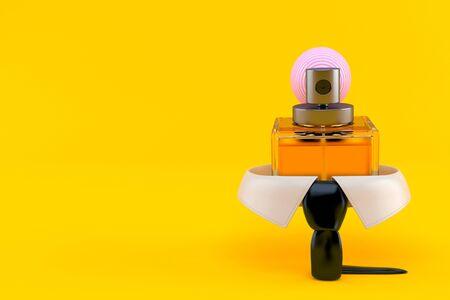 Business collar with perfume bottle isolated on orange background