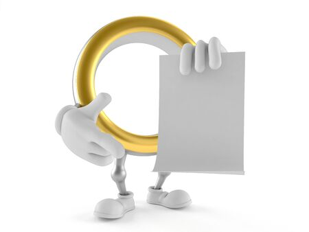 Wedding ring character pointing finger on blank sheet of paper isolated on white background