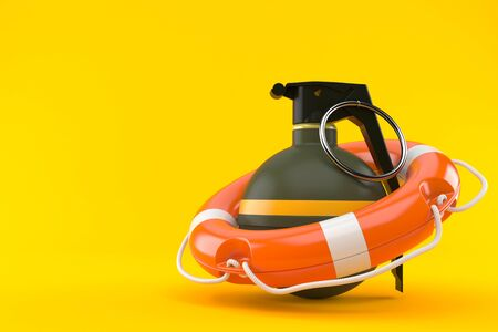 Hand grenade with life buoy isolated on orange background