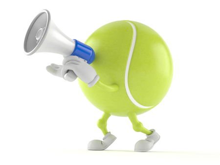 Tennis ball character speaking through a megaphone isolated on white background