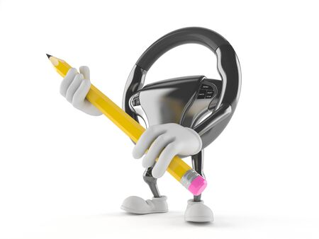 Car steering wheel character holding pencil isolated on white background Фото со стока - 99798106