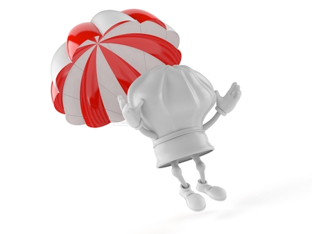 Chef character with parachute isolated on white background Stock Photo