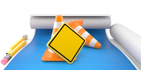 Blank road sign with traffic cones on blueprint