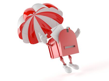 Mailbox character with parachute isolated on white background Stock Photo