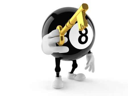 Eight ball character holding key isolated on white background Stock Photo