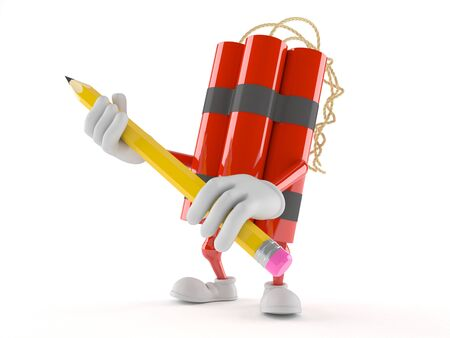 Dynamite character holding pencil isolated on white background Фото со стока - 99664612