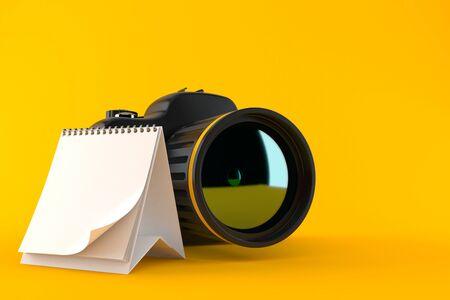 Camera with blank calendar isolated on orange background. 3d illustration