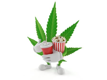 Cannabis character holding popcorn and soda isolated on white background. 3d illustration