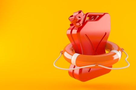 Canister with life buoy isolated on orange background. 3d illustration