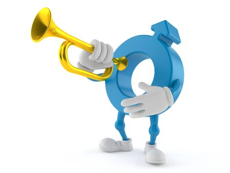 Male gender symbol character playing the trumpet isolated on white background. 3d illustration