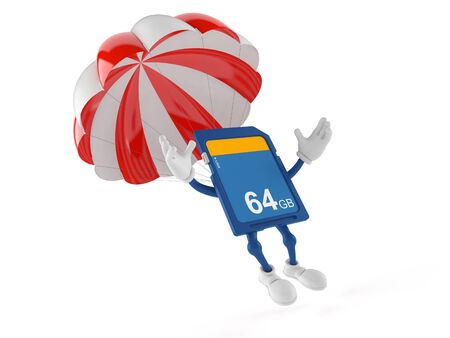SD card character with parachute isolated on white background. 3d illustration
