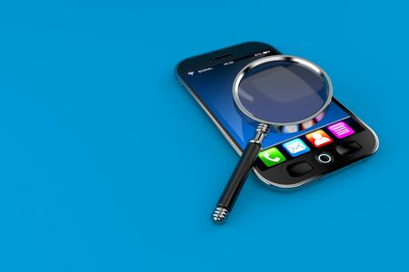 Smart phone with magnifying glass isolated on blue background. 3d illustration