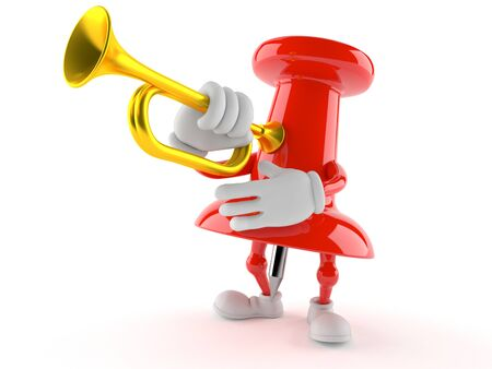 Thumbtack character playing the trumpet isolated on white background. 3d illustration