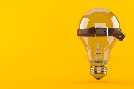 Light bulb with tight belt isolated on orange background. 3d illustration