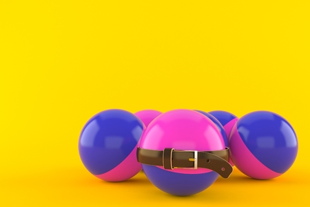 Paintball balls with tight belt isolated on orange background. 3d illustration