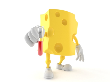 Cheese character holding a sample isolated on white background. 3d illustration