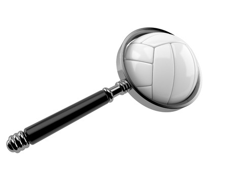 Volleyball ball with magnifying glass isolated on white background. 3d illustration Stock Photo