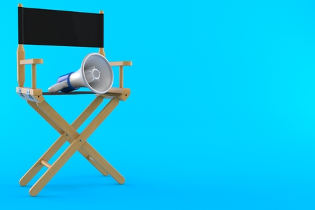 Movie director chair with megaphone isolated on blue background. 3d illustration