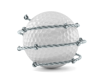 Golf ball with barbed wire isolated on white background. 3d illustration Stock Photo