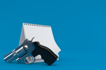 Gun with blank calendar isolated on blue background. 3d illustration Stok Fotoğraf - 100212149