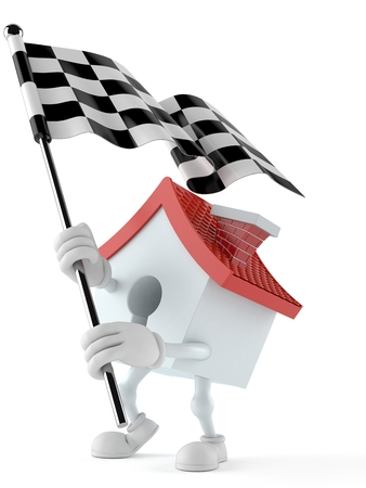 House character waving race flag isolated on white background. 3d illustration