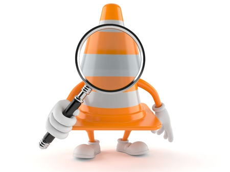 Traffic cone character looking through magnifying glass isolated on white background. 3d illustration
