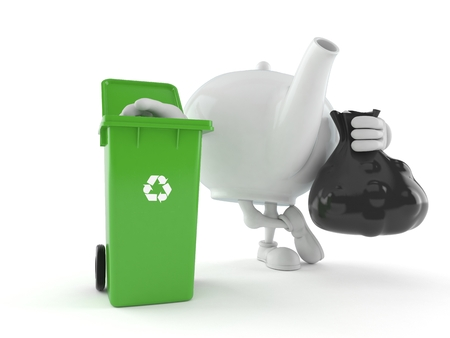 Teapot character with dustbin isolated on white background. 3d illustration