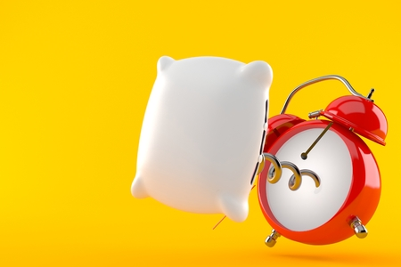 Alarm clock with pillow isolated on orange background. 3d illustration