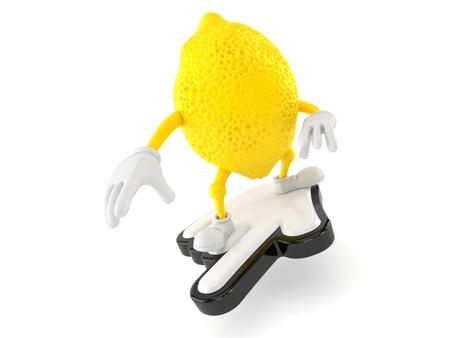 Lemon character surfing on cursor isolated on white background. 3d illustration