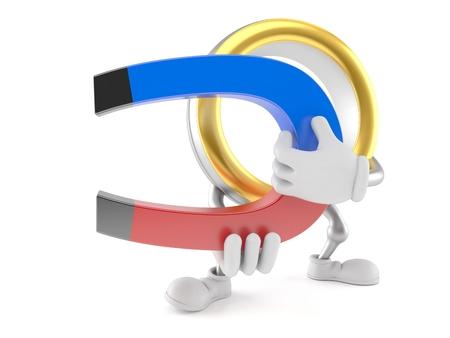 Wedding ring character holding horseshoe magnet isolated on white background. 3d illustration