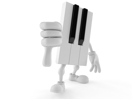 Piano character with thumbs down gesture isolated on white background. 3d illustration