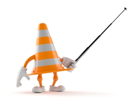 Traffic cone character aiming with pointer stick isolated on white background. 3d illustration Stock Photo