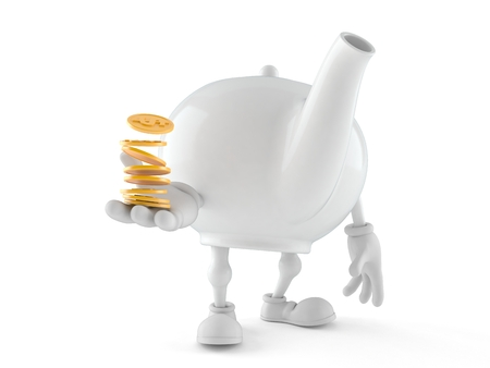 Teapot character with stack of coins isolated on white background. 3d illustration Stock Photo