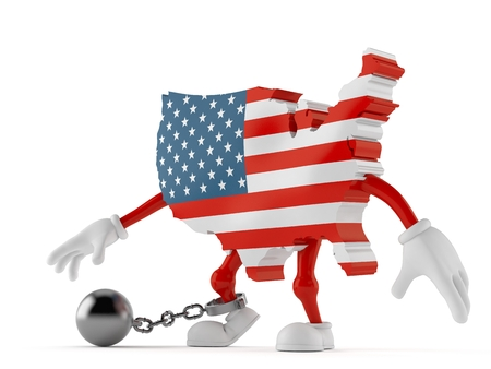 USA character with prison ball isolated on white background. 3d illustration Stock Photo