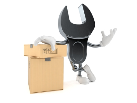 Wrench character with stack of boxes isolated on white background. 3d illustration