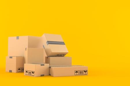Stack of boxes on orange background. 3d illustration Reklamní fotografie - 100871120