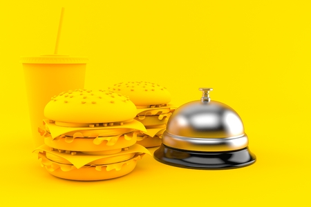 Fast food background with hotel bell in orange color. 3d illustration 写真素材