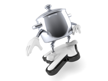 Kitchen pot character surfing on cursor isolated on white background. 3d illustration