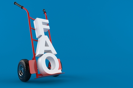 Hand truck with FAQ text isolated on blue background. 3d illustration Stockfoto