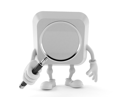 Computer key character looking through magnifying glass isolated on white background. 3d illustration Stock Photo