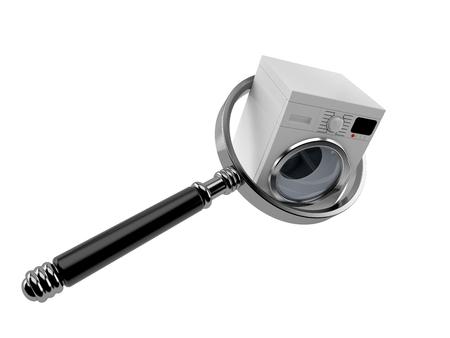 Washing machine with magnifying glass isolated on white background. 3d illustration