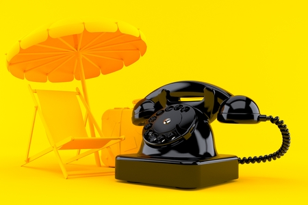 Vacation background with telephone in orange color. 3d illustration