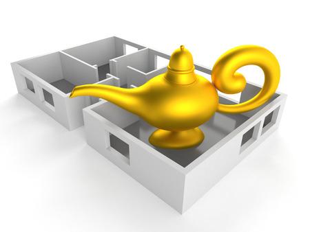 Magic lamp inside house plan isolated on white background. 3d illustration