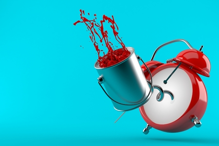 Paint can with alarm clock isolated on blue background. 3d illustration