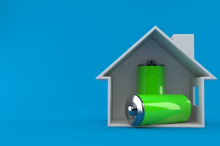 Battery inside house cross section isolated on blue background. 3d illustration Stock Photo