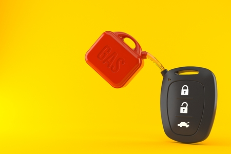 Car remote key with gasoline can isolated on orange background. 3d illustration Stok Fotoğraf