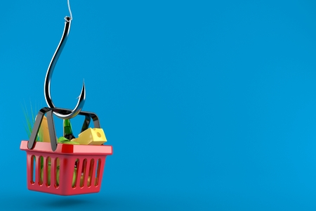 Shopping basket with fishing hook isolated on blue background. 3d illustration
