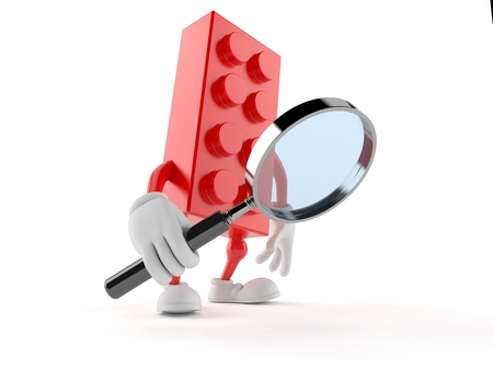 Toy block character looking through magnifying glass isolated on white background. 3d illustration Stock Photo