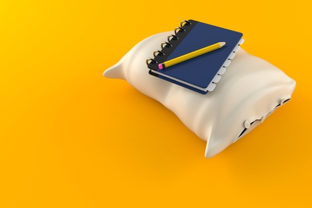 Pillow with notebook isolated on orange background. 3d illustration