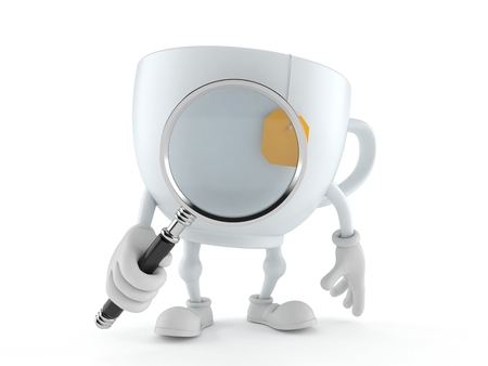 Tea cup character looking through magnifying glass isolated on white background. 3d illustration